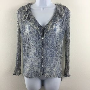 ECOTE URBAN OUTFITTERS RUFFLED PAISLEY TOP